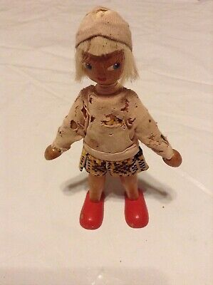 Antique Hand Painted Wooden Bany Doll