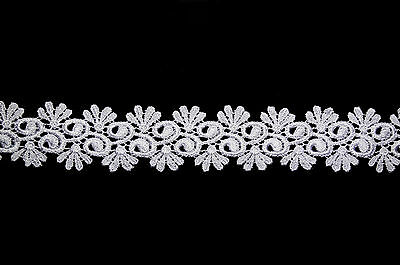 """Kiddo 1.75"""" White or Ivory Floral Double Scalloped Edge Venise Lace Trim by Yard"""