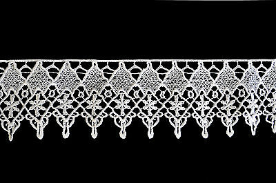"""Kiddo 3"""" White or Ivory Floral Embroidered Guipure Venice Lace Trim by Yard"""