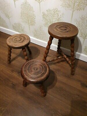 3 x French Wooden Round Bullseye Top Three Legged Milking Stools