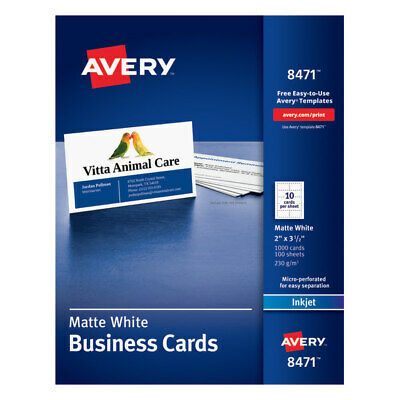 """Avery 2"""" x 3 1/2"""" Matte White Inkjet Microperforated Business Cards, 1,000-Pk"""