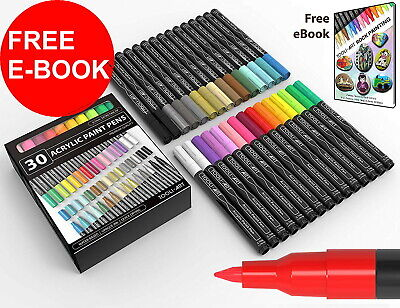 30 Acrylic Paint Pens Mix Markers Set 0.7mm Extra Fine Tip for Rock Glass Wood
