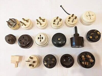 Old Bakelite Power Plugs and Sockets - assorted - white and brown - one ceramic