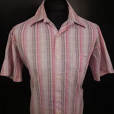Lacoste Mens Casual Shirt 42 LARGE Short Sleeve Pink Regular Fit Striped Cotton