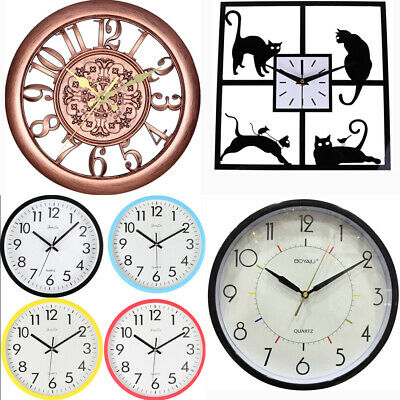 """Extra Large Roman Wall Clock 10""""-15"""" Numerals Open Face Home Garden Round Clocks"""