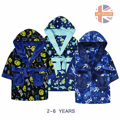 Boys Dressing Gown Robe Soft Plush Fleece Hooded Pockets Cartoon 2-3-4-5-6 Years