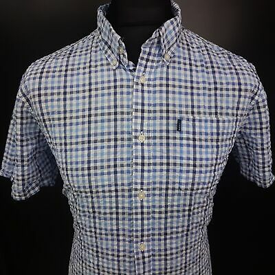 Barbour Mens Casual Shirt LARGE Short Sleeve Blue Tailored Check Cotton
