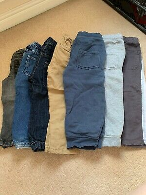 Boys Age 2-3 Years Clothes Bundle 7 Pairs Jeans, Joggers and Chino Trousers