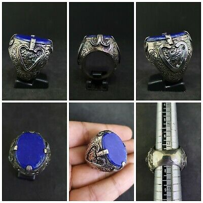 Islamic Old Silver Plated Ring With Beautiful Lapis Lazuli Stone # 3P