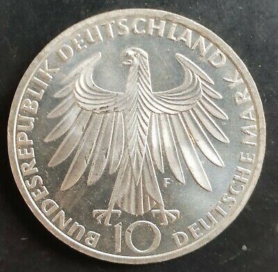 1972 F Germany  (Munich  Olympic)  10 Mark Silver  Coin Unc...