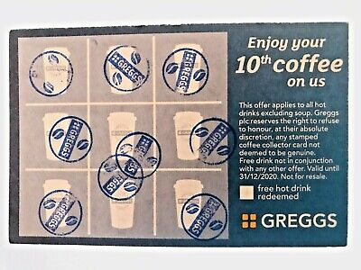 10 X GREGGS bakery loyality Cards Vouchers hot cold Drink COFFEE TEA GIFT COUPON