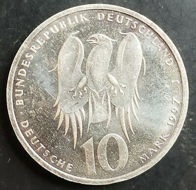 1997 J Germany Silver 10 Mark Coin (500th Anniversary Philipp Melanchthon)  UNC.