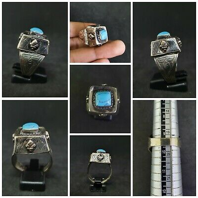 Vintage Silver Plated Beautiful Ring With Beautiful Rare Turquoise Stone #D32