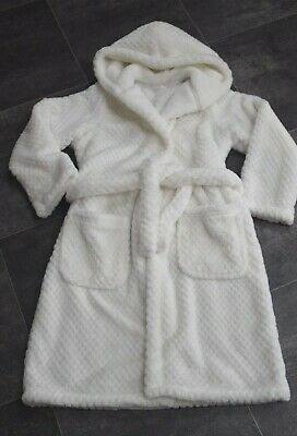 Fab Girls Ivory M&S Soft Dressing Gown Aged 7-8 Years - In Very Good Condition