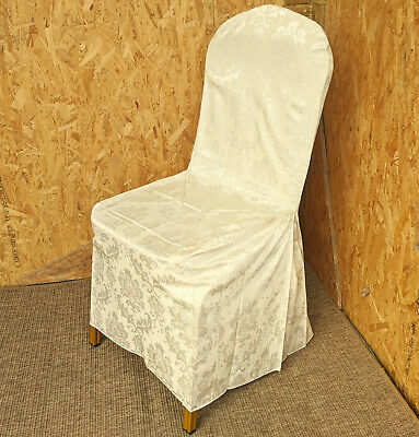 New Ivory White Damask Cotton Chair Removable Slip Covers Dining Banquet Wedding
