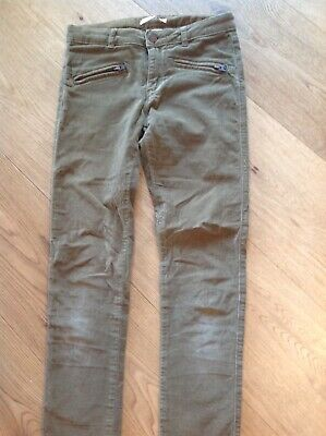 Zara Brushed Cotton Olive Green Girls Bootleg Trousers 9-10 Years VGC.
