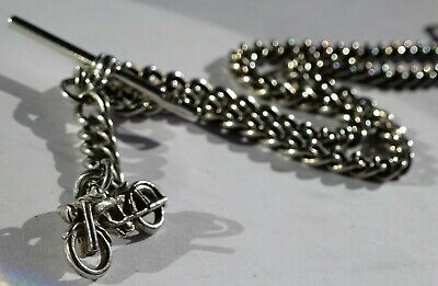 Antique solid silver double pocket watch albert chain and silver motorbike fob
