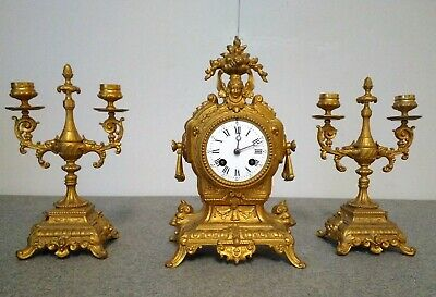 Antique French gilded mantel clock set with candelabras - spelter - 19th century