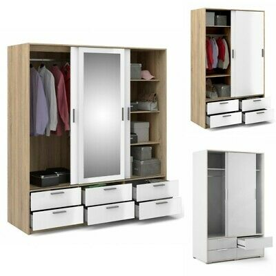 Line White High Gloss Double Triple Wardrobes with Sliding Doors and Drawers