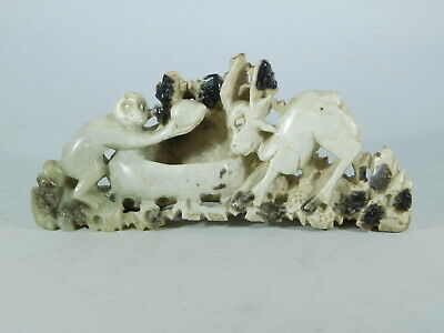 "Early 20Th Century Chinese Soapstone ""Monkey And Goat"" ~ Free Uk Postage"