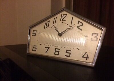 Art Deco Clock Chrome, Bevelled Glass 1930's