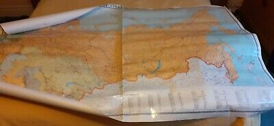 Extra Large  Vintage Laminated Wall Map of the Soviet Union.Language is Russian