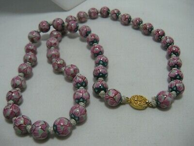 Antique Chinese Export Hand Painted Pink Green Porcelain Bead Necklace Filigree