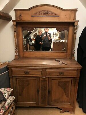 Antique Victorian Edwardian Art Nouveau Chiffonier Sideboard with Mirror