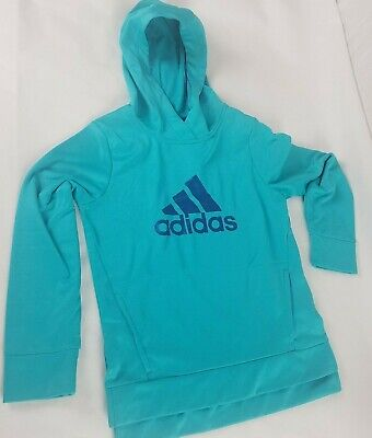 Adidas Girls Hooded Sweatshirt Size 10/12 Blue Teal Pullover Hoodie With Pockets