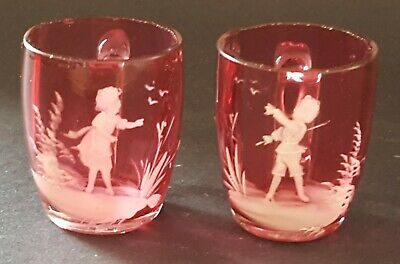 Mary Gregory cranberry glass vintage Victorian antique pair of small tot mug