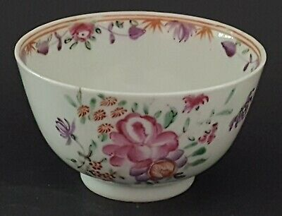 Chinese export vintage pre Victorian oriental antique purple flower tea bowl