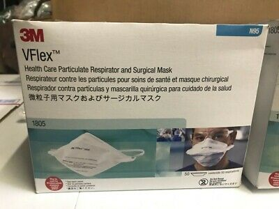 3M N95 1805 VFlex Hospital Grade Respirator and Surgical Mask 50 Pack, New