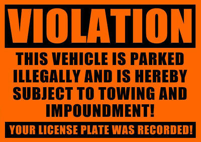 5 VIOLATION - NO PARKING - TOWING Sticker - No Parking stickers. Fast freeship