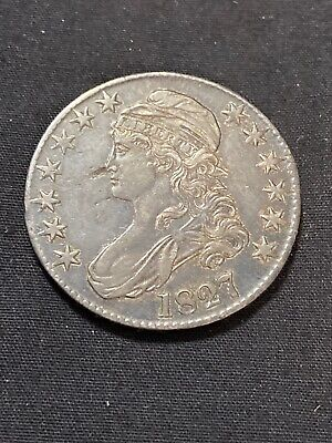 1827 50C Square Base 2 Capped Bust Half Dollar Extra Fine to AU Toned