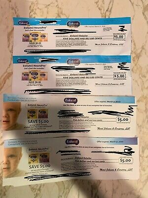 ENFAMIL NeuroPro - Lot of 4 Coupons - Infant Baby Formula - $20 Value - Exp 3/31