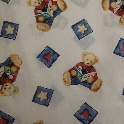 Springmaid Nursery Crib Sheet Blue Jean Teddy Bear Star Heart
