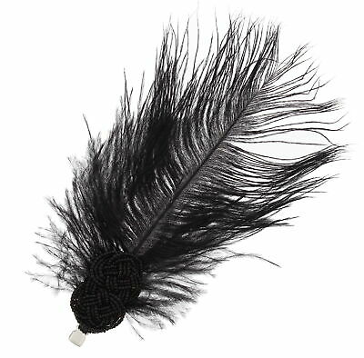Zac's Alter Ego® Black Long Feather Fascinator with Black Pearl Bead Attachement