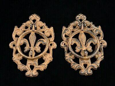 2 Lovely Vintage Distressed Wrought Cast Iron Door Knockers Fleur De Lis Scroll