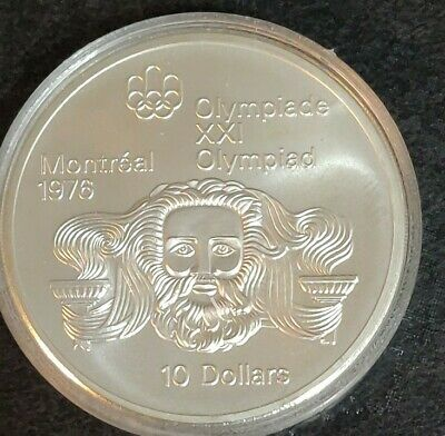 1974 Canadian $10 Silver Dollar Montreal Olympic Coin (HEAD OF ZEUS) 1.44oz Ag