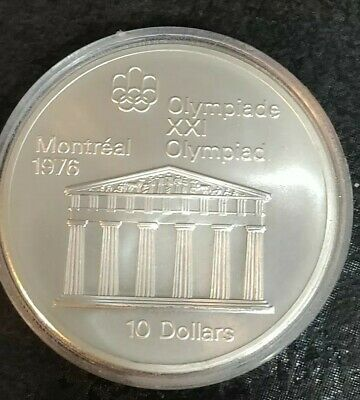 1974 Canadian $10 Silver Dollar Montreal Olympic Coin (TEMPLE OF ZEUS) 1.44oz Ag