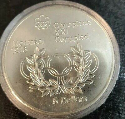 1974 Canadian $5 Silver Dollar Montreal Olympic Coin (OLYMPIC RINGS) .72 oz Ag