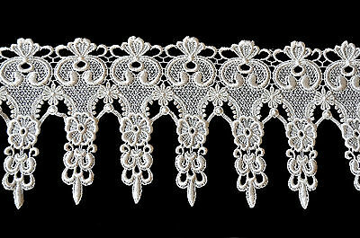 """Kiddo 6"""" Ivory Floral Victorian Guipure Venice Lace Trim by Yardage"""