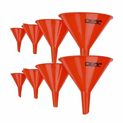 8pcs Funnel Set Plastic Pouring Funnels 2/3/4/5 Inch Kitchen Petrol Fuel I9Z