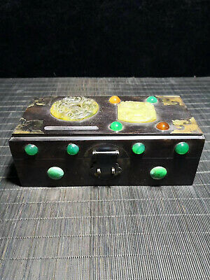 Chinese Qing Dynasty old antique Black inlaid Jade wood box Jewelry box EVO