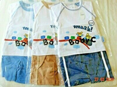 BABY BOYS T - SHIRT TOP & SHORTS 2 PIECE OUTFIT 123 TEDDY TRAIN 6-12 months