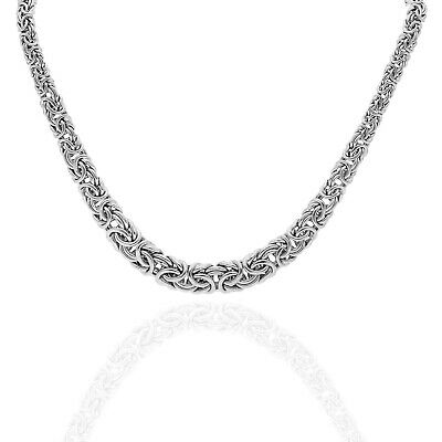 Graduated Byzantine Diamond Cut Link Necklace Real Sterling Silver 925 Italy!