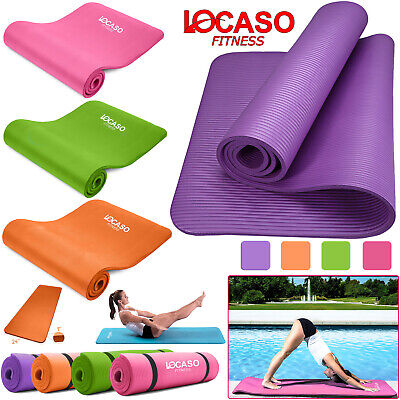 Yoga Mat for Pilates Gym Exercise +Carry Strap Extra Thick Large Comfortable NBR