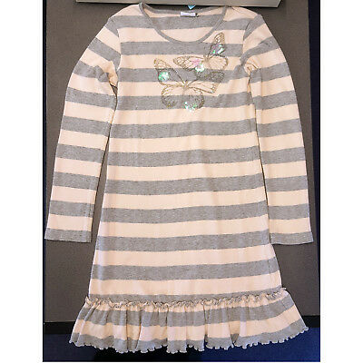 Girls Next Long Sleeve Pink Grey Stripe Dress Butterfly Sequins 11 Years