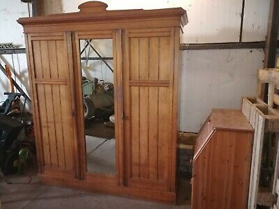 Large antique pine 'knock down' wardrobe. Huge capacity. Designed to dismantle.