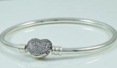 "New Genuine Silver PANDORA Engraved ""Always in my Heart"" Bracelet Bangle RRP £75"